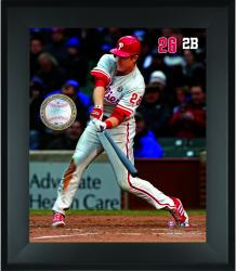 "Chase Utley Philadelphia Phillies Framed 20"" x 24"" Gamebreaker Photograph with Game-Used Ball"