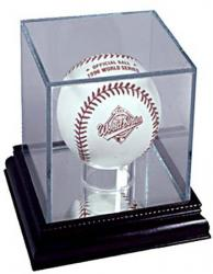 UV Glass Baseball Display Case w/Cherrywood Base