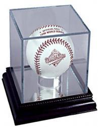 UV Glass Baseball Display Case w/Cherrywood Base
