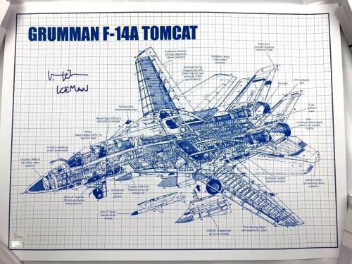 Val Kilmer Authentic Autograph TOP GUN 18x24 F14 Top Cat Poster JSA Iceman