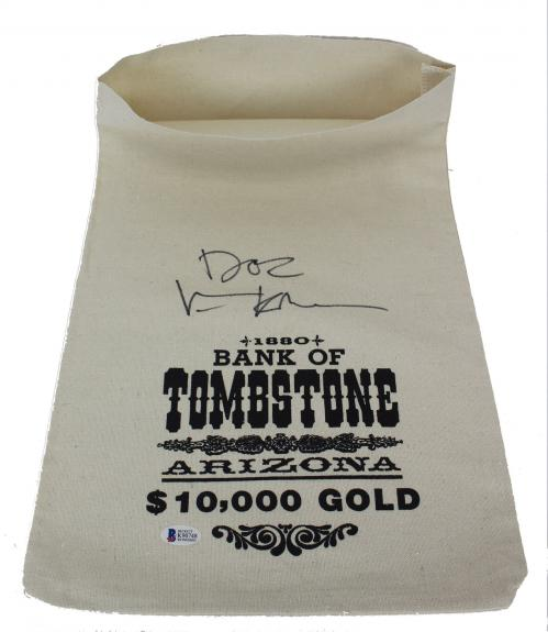 "Val Kilmer ""Doc"" Signed 1880 Bank Of Tombstone Canvas Prop Money Bag BAS Witness"