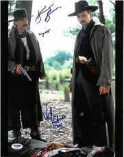 Val Kilmer & Kurt Russell Signed Tombstone Auto 11x14 Photo PSA/DNA #AC18675