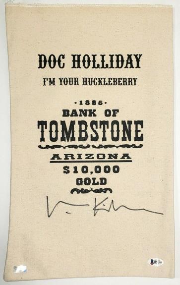 "VAL KILMER Signed Autograph TOMBSTONE ""Doc Holliday"" Bank Bag Beckett BAS H78316"