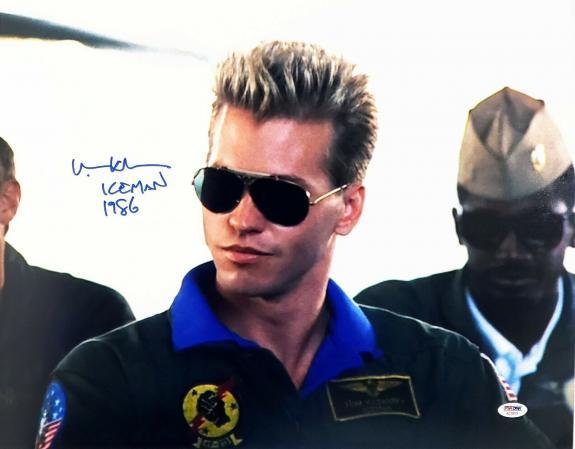 "VAL KILMER Signed Autographed TOP GUN Movie ""Ice Man 1986"" 16x20 Photo PSA/DNA"
