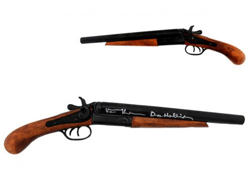 """Val Kilmer Signed Tombstone Howitzer Replica Double Barrel Shotgun with """"Doc Holiday"""" Inscription"""