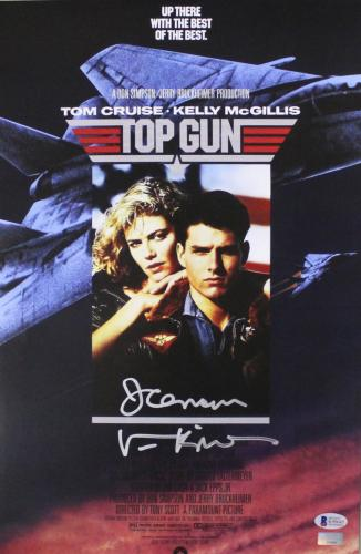 """Val Kilmer Signed Top Gun 11x17 Poster with """"Ice Man"""" Inscription"""