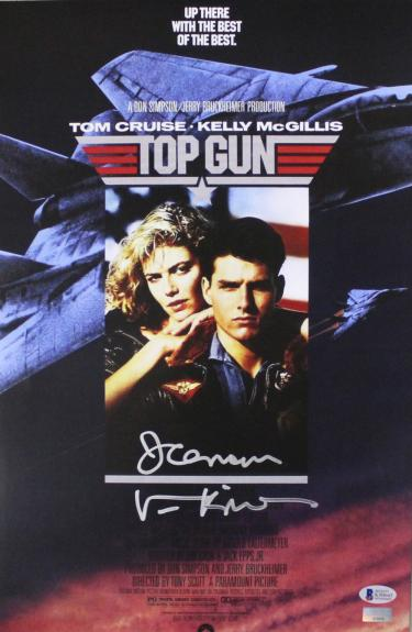 "Val Kilmer Signed Top Gun 11×17 Mini Poster with ""Ice Man"" Inscription"
