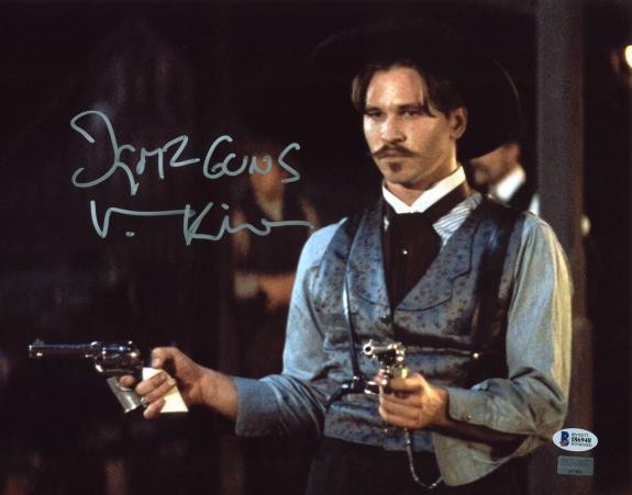 "Val Kilmer Tombstone ""I Got 2 Guns"" Signed 11x14 Photo BAS Witnessed 11"