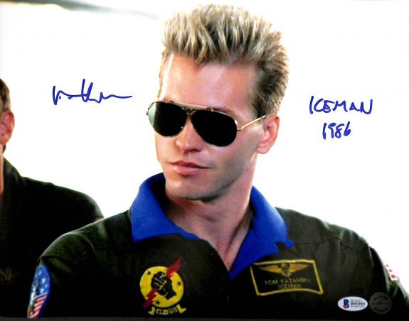 "Val Kilmer Top Gun ""Iceman 1986"" Signed 11x14 Photo Autographed BAS 2"