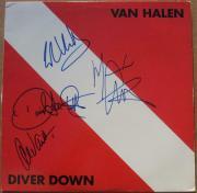 Van Halen 4x signed LP Album Cover Diver Down BAS Beckett Eddie David Lee Roth