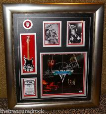 VAN HALEN LP RECORD David Lee Roth EDDIE signed display GUITAR EVH PICK  JSA COA