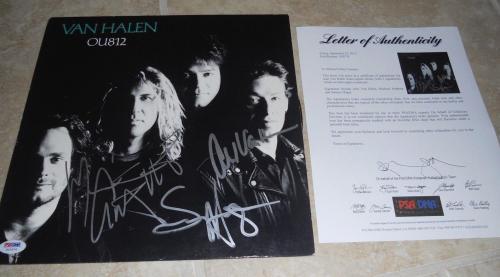 Van Halen x3 Hagar Alex Michael Signed Autographed LP Album Record PSA Certified