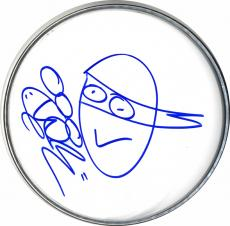 Vanilla Ice Signed w Teenage Mutant Ninja Turtles Art Sketch DrumHead Drum Head