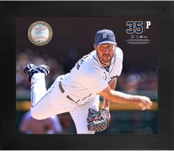 Justin Verlander Detroit Tigers Framed 20'' x 24'' Gamebreaker Photograph with Game-Used Ball - Mounted Memories
