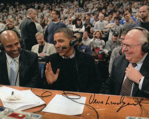 Verne Lundquist Signed Autograph 8x10 Photo - W/ President Barack Obama Rare!