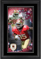 Vernon Davis San Francisco 49ers 10'' x 18'' Vertical Framed Photograph with Piece of Game-Used Football - Limited Edition of 250
