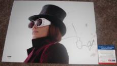 VERY COOL!!! Johnny Depp Willy Wonka Signed 11x14 Photo #1 PSA/DNA