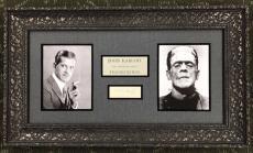 VERY RARE- BORIS KARLOFF- Vintage FRANKENSTEIN signed/framed display- JSA Letter