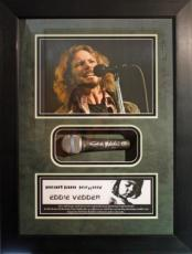 VERY RARE-EDDIE VEDDER (Pearl Jam) signed microphone framed display-JSA Auth.