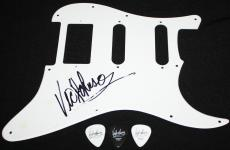 Vic Johnson signed pickguard with used picks, Sammy Hagar, The BusBoys, COA