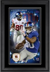 Victor Cruz New York Giants 10'' x 18'' Vertical Framed Photograph with Piece of Game-Used Football - Limited Edition of 250