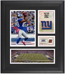 "Victor Cruz New York Giants Framed 15"" x 17"" Collage with Game-Used Football"