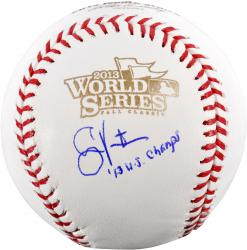 Shane Victorino Boston Red Sox 2013 World Series Champions Autographed 2013 World Series Logo Baseball with 2013 WS Champs Inscription - Mounted Memories