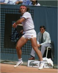 "Guillermo Vilas Autographed 8"" x 10"" White Striped Shirt Photograph"