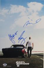 Vin Diesel + 2 Signed Furious 6 Authentic Autographed 11x17 Photo PSADNA#Y00733