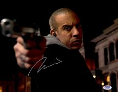 "Vin Diesel Autographed 11"" x 14"" Pointing Gun Photograph - PSA/DNA"
