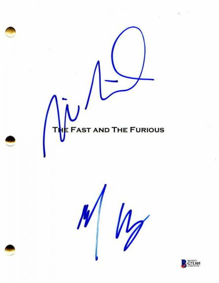 Vin Diesel & Michelle Rodriguez Signed Autograph The Fast And The Furious Script