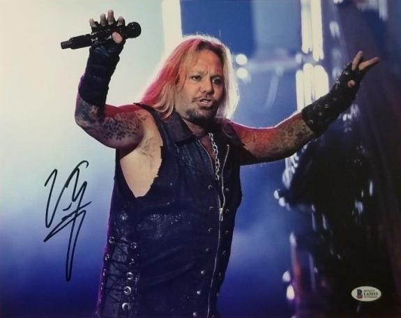 Vince Neil Signed Motley Crue 11x14 Photo Beckett BAS Witness Auto COA #L63019