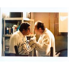 "Vincent Pastore Autographed Sopranos (with James Gandolfini) 8x10 Photo w/ ""Big Pussy"