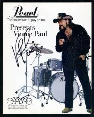 VINNIE PAUL HAND SIGNED 8x10 COLOR PHOTO+COA      AWESOME DRUMMER FROM PANTERA