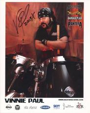 VINNIE PAUL HAND SIGNED 8x10 COLOR PHOTO+COA        AWESOME DRUMMER   PANTERA