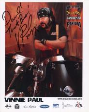 VINNIE PAUL HAND SIGNED 8x10 COLOR PHOTO+COA     PANTERA DRUMMER    TO DAVID