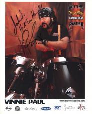 VINNIE PAUL HAND SIGNED 8x10 COLOR PHOTO+COA      PANTERA DRUMMER    TO JOHN