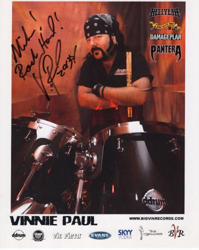 VINNIE PAUL HAND SIGNED 8x10 COLOR PHOTO+COA      PANTERA DRUMMER    TO MIKE