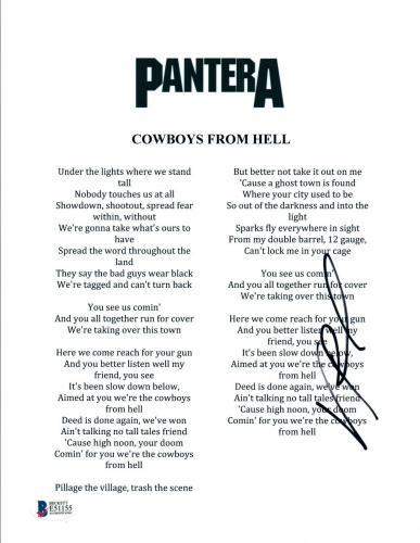 Vinnie Paul Signed Autograph Pantera COWBOYS FROM HELL Lyric Sheet Beckett COA