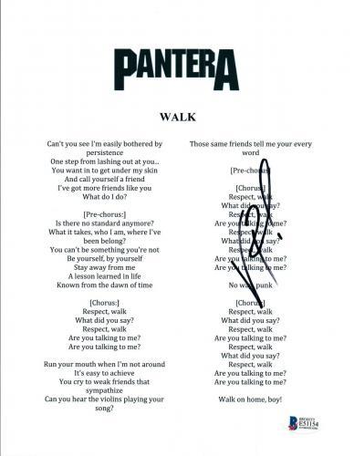 Vinnie Paul Signed Autograph Pantera I'M BROKEN Song Lyric Sheet Beckett BAS COA