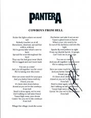 Vinnie Paul Signed Autographed Pantera COWBOY'S FROM HELL Song Lyric Sheet COA