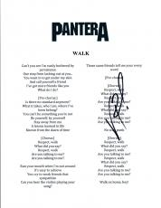 Vinnie Paul Signed Autographed Pantera WALK Song Lyric Sheet COA