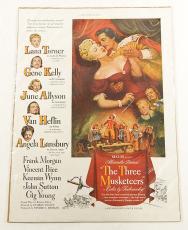 Vintage 1948 The Three Musketeers Poster Ad ^ Gene Kelly Lana Turner Lansbury