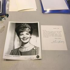 Vintage 1960's Florence Henderson Brady Bunch Signed 8x10 Studio Photo + Letter