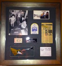 Vintage early U2 autograph signed Bono Edge Explorer guitar pass FRAMED PSA DNA
