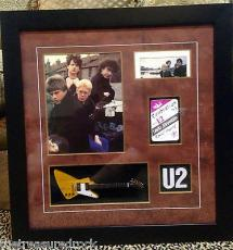 Vintage early U2 autographed signed OCTOBER Bono Edge 1983 PASS GUITAR PSA DNA