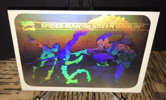 Vintage Marvel 1990 Impel Green Goblin & Spiderman Hologram Trading Card Rare B
