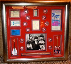 VINTAGE Rolling Stones signed autographed display tickets pass guitar pick PSA