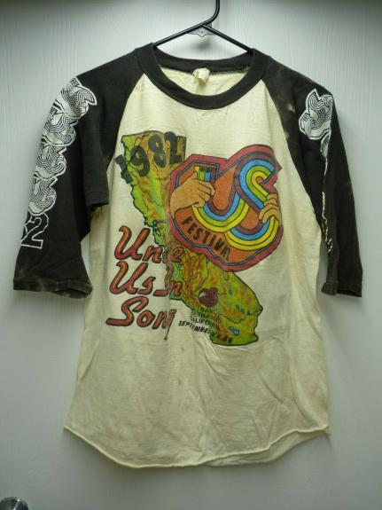 Vintage US MUSIC FESTIVAL 1982 L Raglan T-Shirt POLICE B-52 Petty Heads Kinks
