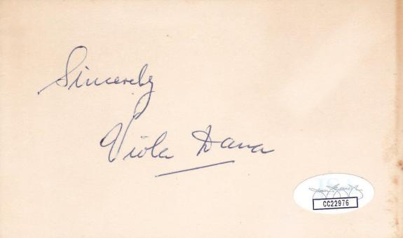 VIOLA DANA d 1987 Signed 3x5 Index Card Actress/A Christmas Carol JSA CC22976